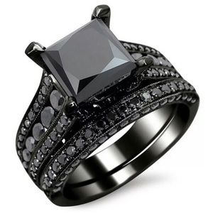 NEW 18K BLACK SAPPHIRE STERLING SILVER RING